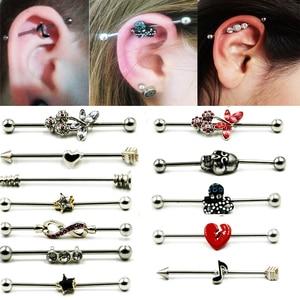 1Pcs Hot sale Surgical Steel Industrial Barbell Ring Charming Earring Industrial Barbell Body Piercing Earrings Jewelry