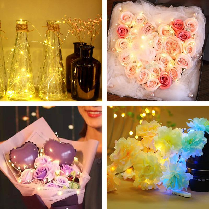 Garland Decorative Light Copper Wire 10 LED String Fairy Lights LED Strip Lighting Fiber Optic Lights Christmas Wedding Party 1m