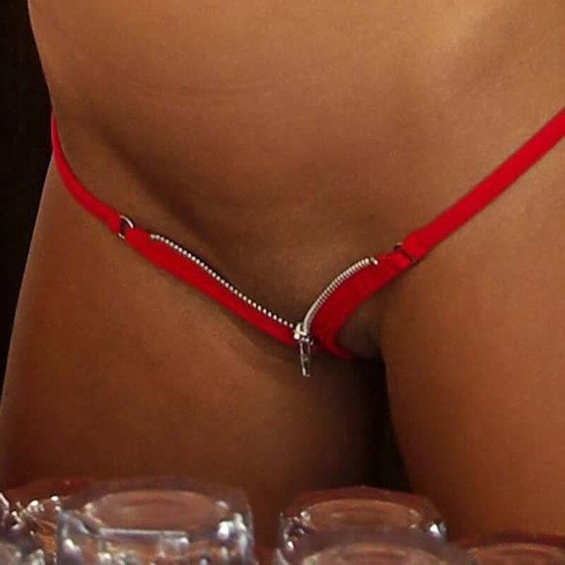 Women Sexy Zipper Thongs Cheeky Bikini G Strings Swim Bottom Open Crotch Beach Sunbath Panties Tangas T Back Lingerie Undewear