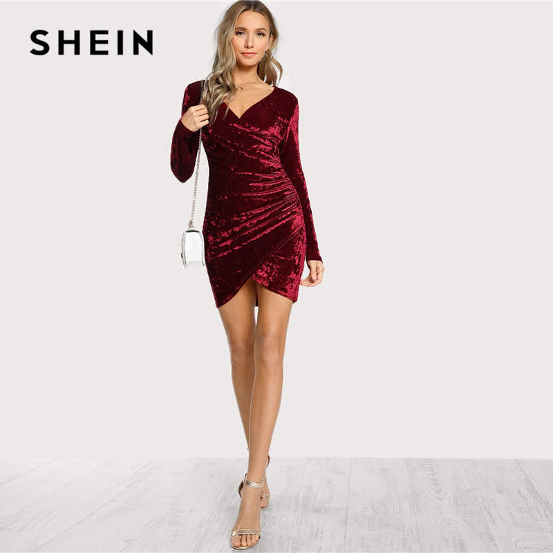 5adcf9b6273bd SHEIN Burgundy Party Sexy Solid Ruched Overlap Surplice Crushed Velvet Long  Sleeve Pencil Dress Autumn Club Women Dresses