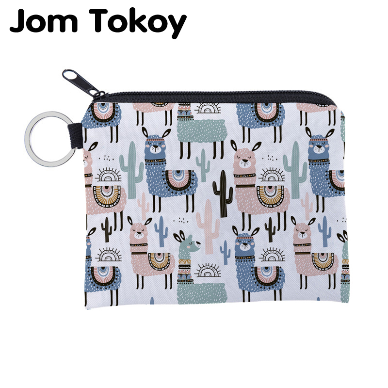 Jomtokoy Alpaca Printing Waterproof Purse Card Key Pouch Small Zipper Coin Purse Card Holder Mini Square Wallet Lqb3012