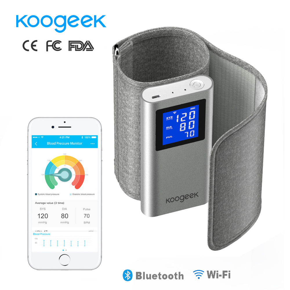 Koogeek FDA Smart Arm Blood Pressure Monitor Large LCD Screen via Wifi Bluetooth Sphygmomanometer Rechargeable for