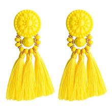 2019 Fashion Womens Jewelry European Multi-layer Braided Fringed Resin Earrings Bohemian Minimalist Popular Drop