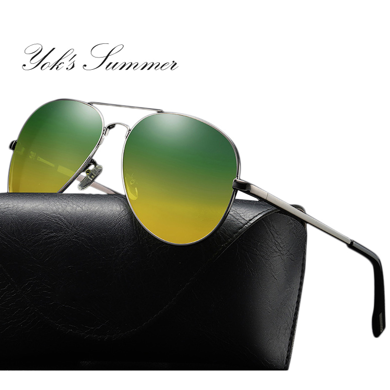 YOK'S Night Vision Polarized Sunglasses Men Brand Anti-glare Driving Goggles Pilot Aluminum Yellow Shades Sunglasses New HN1217