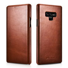 Slim Retro Cowhide Genuine Leather Flip Case for Samsung Galaxy Note9 Business Real Smart Phone Cover Note8