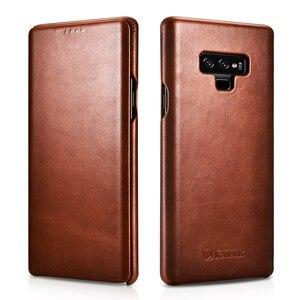 Image 1 - Slim Retro Koeienhuid Lederen Flip Case voor Samsung Galaxy Note9 Bedrijvengids Real Leather Smart Telefoon Cover voor Samsung Note8