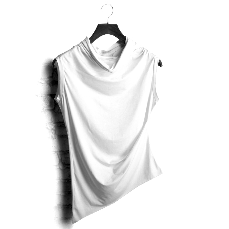 Παλάτι το καλοκαίρι της καλλιέργειας της ηθικής Αμάνικο αμάνικο υψηλό κολάρο κοντό μανίκι T Shirt Ασύμμετρη Ρούχα Αντρικά Ένδυση Πουκάμισα