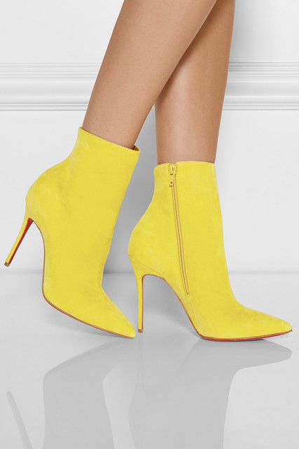 e134892a96c5 Free Shipping Hot Sale Yellow Pointed Toe Flock Shoes Women Stiletto Heel  Pumps Red Sole Booties