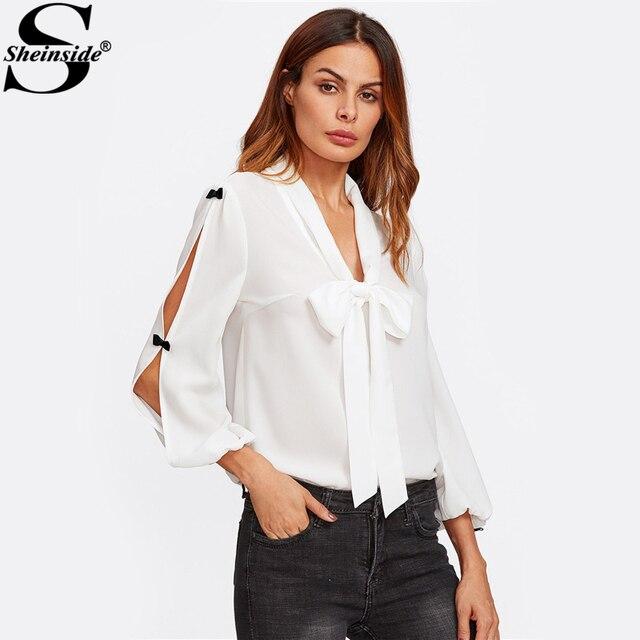 Sheinside Bow Embellished Split Sleeve Tie Neck Bow Blouse White V Neck Long Sleeve Plain Top 2017 Women Elegant Blouse