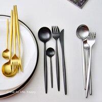 Joyclad Super Black Gold Knife Fork Vintage Stainless Steel Coffee Soup Scoop Kitchen Western Restaurant Dinnerware