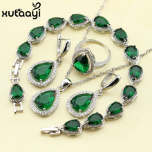 925 Silver Water Drop Wedding Jewelry Set For Women Green Stones White crystal Bracelet Earrings Necklace Pendant Rings