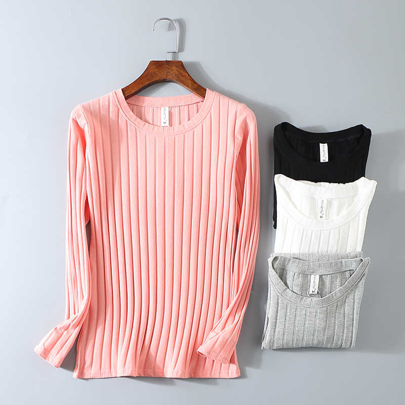 Striped Elastic T Shirt Women 2019 Spring Top Casual O Neck Long Sleeve Shirt Cotton T-Shirts Tops Knitted Blusas Plus Size D108