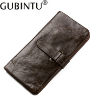 GUBINTU Genuine Cowhide Leather Men Wallet Crazyhorse Luxury Long Coin Purse With Credit Card Holder Male