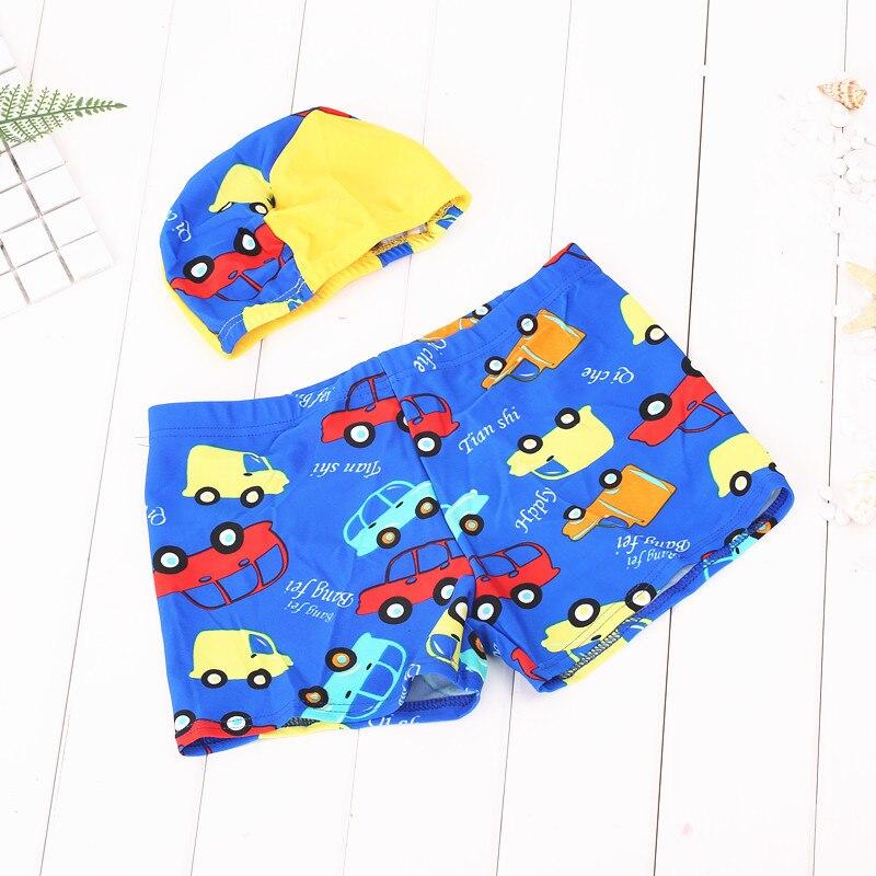 2018 New Kids Swimwear Boys Swimsuit Baby Boy Swimwear Swimsuit Boys Swim Trunks Kid Cartoon Bathing Suit Toddler shorts +hat