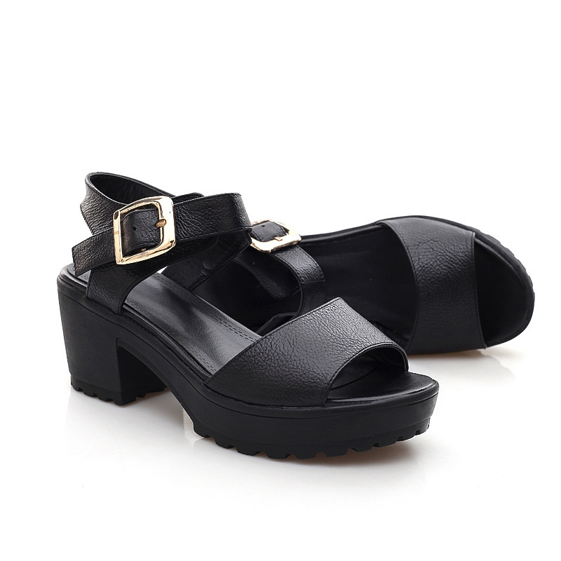 ФОТО casual sexy high heel genuine leather summer open toe women shoes platform ladies sandals girls sandalias femininas