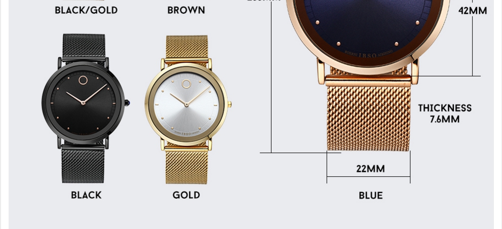 IBSO Fashion Simple Style Ultra Thin Bracelet Watches 6