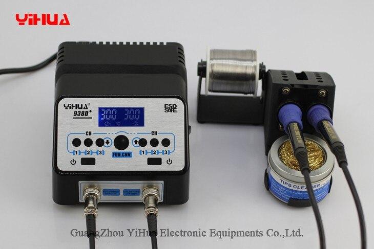 220 В/110 в США/ЕС штекер YIHUA 938D + SMD двойной паяльник паяльная станция светодио дный дисплей SMD паяльная станция