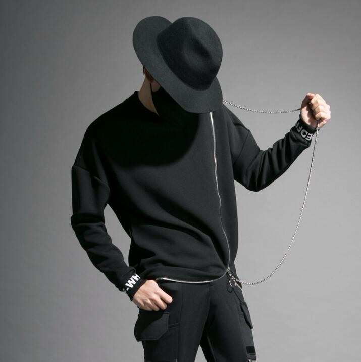 Бренд Tide, индивидуальная куртка, мужской сценический костюм для ночного клуба, мульти молния, круглый вырез, длинный рукав, футболка, мужская мода, джемпер - 3