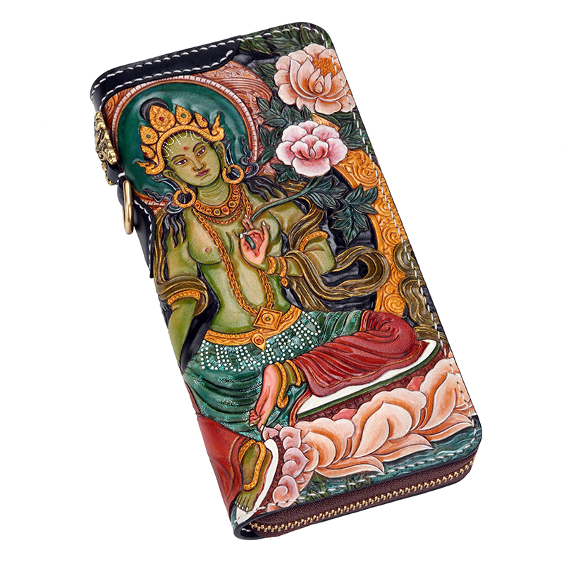 Genuine Leather Wallets Carving Green Tara  Buddhism Purses Men Long Clutch Vegetable Tanned Leather Wallet Card HolderGenuine Leather Wallets Carving Green Tara  Buddhism Purses Men Long Clutch Vegetable Tanned Leather Wallet Card Holder
