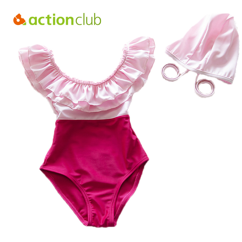 Actionclub  One-piece Children Bikini Swimsuit Swimwear For 2-10Year Little Girl  Beach Bathing Suit biquini infantil SA199 one piece mexican bola cage cell little girl harmony angel caller sound bell necklace