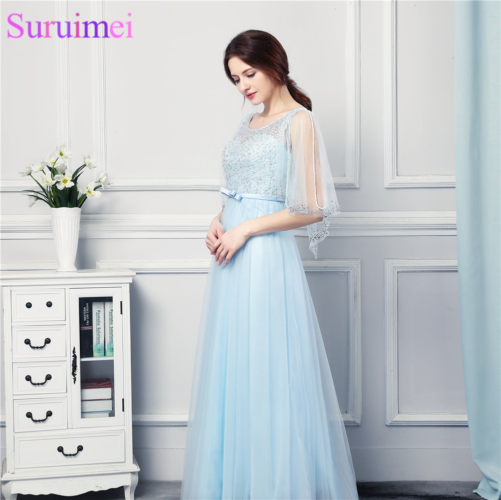 Light Blue See Through Half Sleves   Prom     Dresses   High Quality Tulle Beaded Long Corset   Prom   Gown Formal Women   Dresses