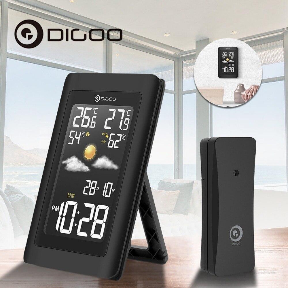 Digoo Hygromètre Thermomètre Station Météo DG-TH11300 Sans Fil HD Négative Écran USB Extérieure VA Verre Prévisions Capteur Horloge
