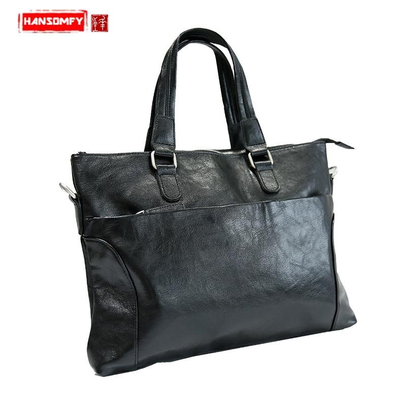 2018 nouveau décontracté simple section transversale hommes mallette ordinateur portable affaires PU cuir sacs à main épaule messenger sacs noir mallette