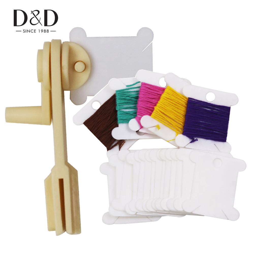 D&D 300pcs Plastic Thread Bobbins Thread Card and 1pc String Winder Cross Stitch Embroidery Floss&Craft Sewing Tools