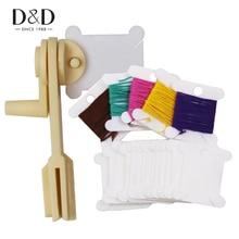 D & d 300 pces fio plástico bobinas cartão de rosca e 1pc corda dobadoura ponto cruz bordado floss & artesanato ferramentas de costura