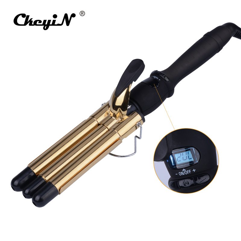 CkeyiN LCD 19MM Ceramic Curling Iron Triple Barrel Hair Curlers Styler Fast Heating Hair Styling Tool Magic Spiral Curling Wand ckeyin 9 32mm deep curly hair styler curls ceramic curling iron wave machine pro spiral magic hair curlers rollers curling wand