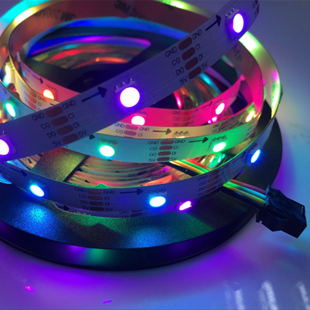 YIYANG 5M APA102 Smart LED Strip White PCB 30leds/pixels/m IP20 DC 5v Pixels Addressable Build in Chips Magic Color LED Strips