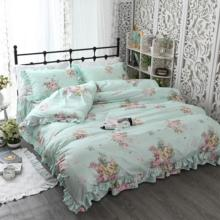 4 Pieces Floral Flowers Vibrant Princess Ruffle Duvet Cover Set 100%Cotton 160X200cm Bedskirt Queen Twin Size Girls Bedding set