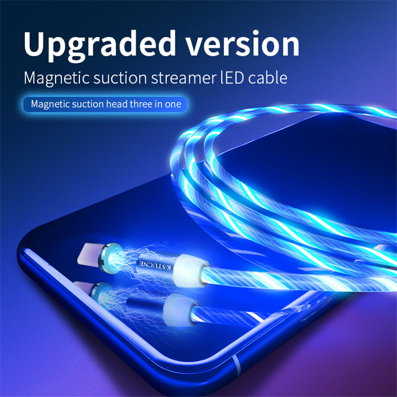 Magnetic USB Type C Cable LED Luminous Charging For Samsung S9 Huawei P20 pocophone F1 Mobile