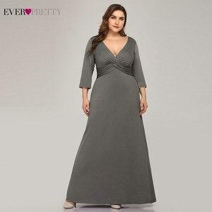 Image 1 - Artı boyutu basit gri abiye uzun hiç güzel v yaka tam kollu zarif resmi elbiseler EP07995 Vestidos De Festa 2020