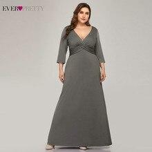 Plus Größe Einfache Grau Abendkleider Lange Immer Ziemlich V ausschnitt Volle Hülse Elegante Formale Kleider EP07995 Vestidos De Festa 2020