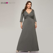 Plus Size Simple Grey Evening Dresses Long Ever Pretty V-Neck Full Sleeve Elegant Formal EP07995 Vestidos De Festa 2019