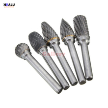 5 Pcs 12mm Head Tungsten Carbide Rotary Point Burr Die 6mm Shank for Drill Tools Ring Abrasive