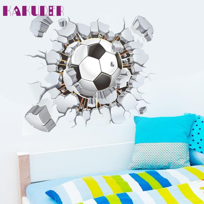Amazing 1 Set Cool 3D Football Living Room Bedroom Background Wall Sticker good Choice for football Soccer Fans 40x50cm FEB16 ...