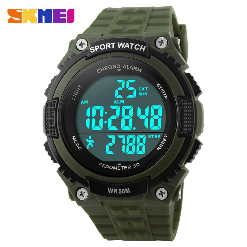 Prix pour Skmei sports de plein air montres hommes led 50 m étanche numérique podomètre montres chronographe militaire armée montre 1112