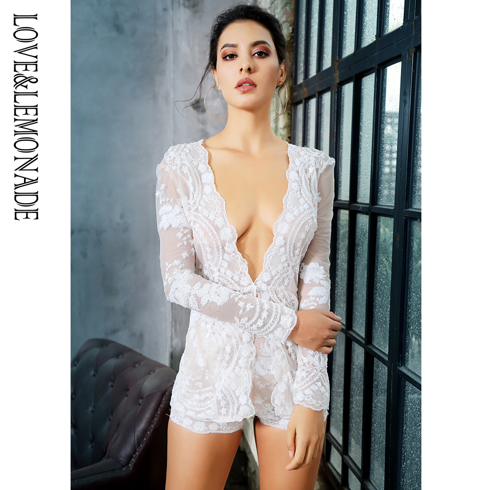 LOVE&LEMONADE  White Deep V-Neck Two-Pieces Mesh Lining Flower Sequins Sets LM81166