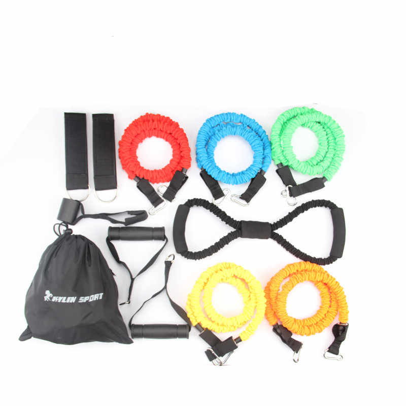2017 new 12pcs resistance bands exercise set fitness tube yoga workout pilates for wholesale and free shipping kylin sport