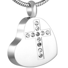 Heart with Crystal Cross Urn Necklace
