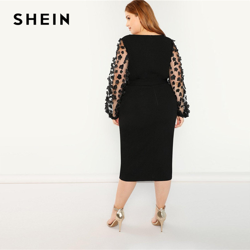 SHEIN Women Plus Size Elegant Black Pencil Dress With Applique Mesh Lantern Sleeve High Street Belted Slim Fit Party Dresses 2