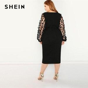 Image 2 - SHEIN kobiety Plus rozmiar elegancka czarna sukienka ołówkowa z aplikacją Mesh latarnia rękaw główna ulica z paskiem sukienki na imprezę slim fit