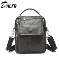 DALFR Genuine Leather Handbags Water Proof Casual Style Briefcase 10 Inch 12 Inch Zipper Solid Bags
