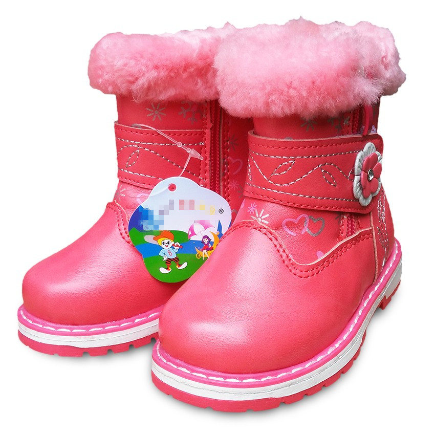 HOT SALE 1pair Winter  Leather Children Boots Brand Plus Velvet  KIDS Snow Boot,boy Warm Cotton-padded Soft Leather Shoes