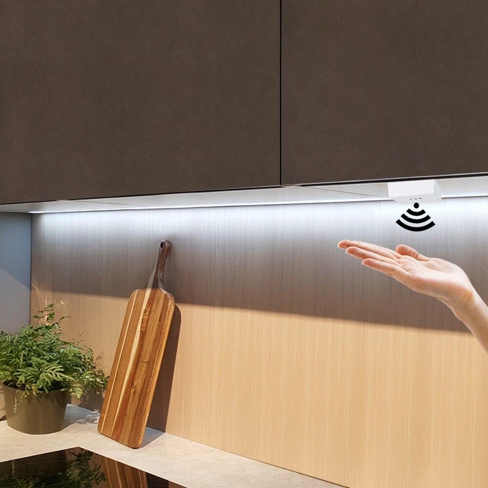 Dimmable Cabinet Lights Hand Sweep Sensor LED Kitchen Lights Strip Tape+Adapter DC 12V LED Lamp DIY Closet Kitchen Cabinet Light