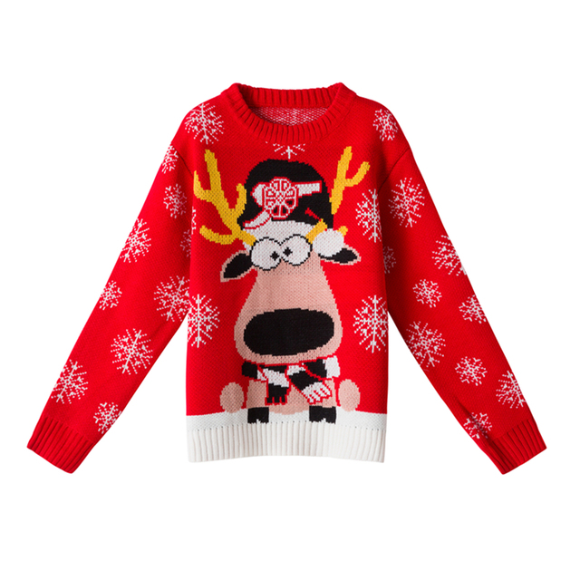 womens ugly christmas sweater pullovers autumn long sleeve cute girls reindeer pattern knit xmas party pullover - Cute Ugly Christmas Sweater