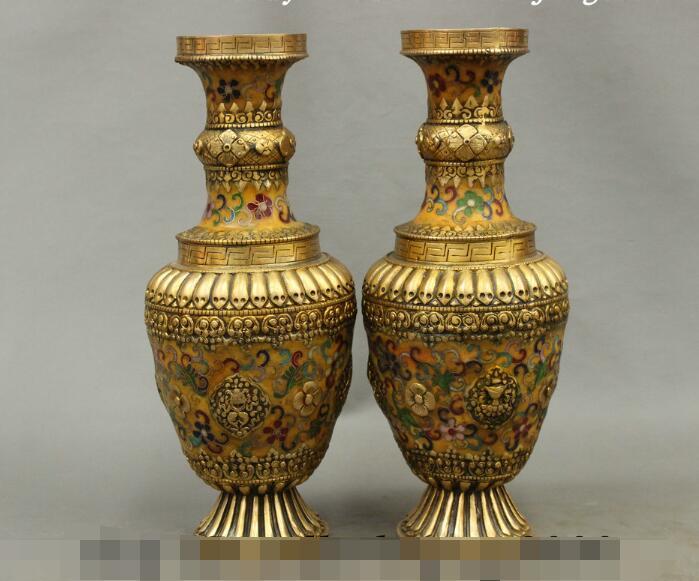 S5493 12 China Tibean Bronze Cloisonne Palace Auspicious Statue Bottle Vase Pot Pair