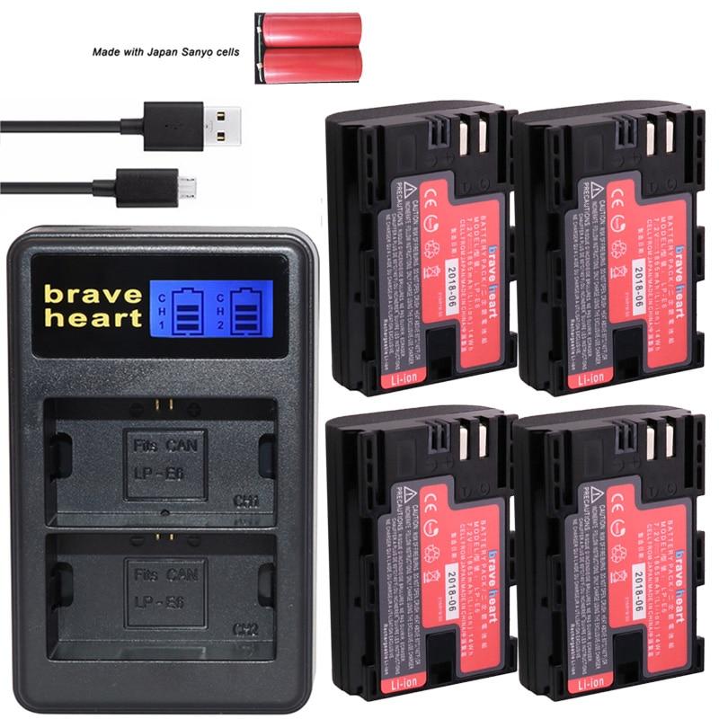 Kreativ Bateria Lp-e6 Lp E6 Lpe6n Kamera Batterie Japan Sanyo Zellen Stromquelle Led Usb Dual Ladegerät Für Canon Eos 5ds R 5d Mark Ii 5d 6d 7d 80d Elegante Form